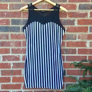 Skellington Halloween Striped Bodycon Dress