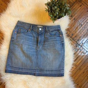 LOFT Raw Edge Denim Skirt