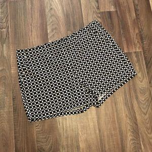 Nautical Black and White Geometric Print Shorts