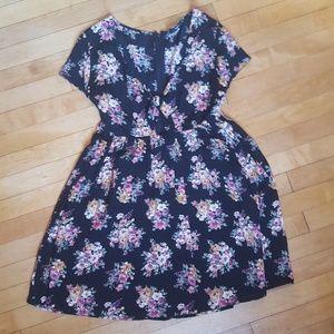 Black Floral Baby doll Dress