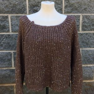 Jennifer Lopez Brown Metallic Sweater Sequins XL