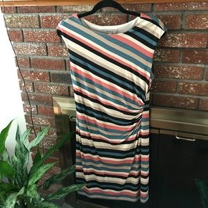 Loft Striped fitted dress