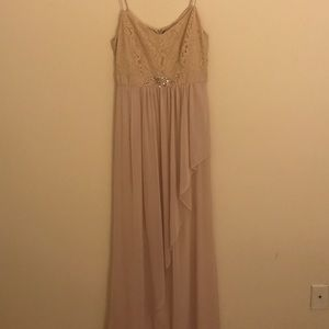 Adrianna Papell Almond Color Floor Length Gown. 4