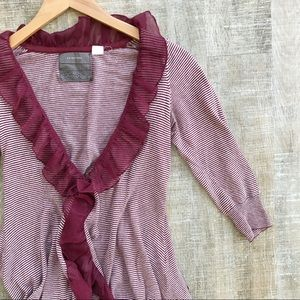 Guinevere (Anthropologie) stripe ruffle cardigan