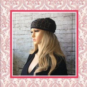 🍒New Black bling beanie scrunchie hat cap turban