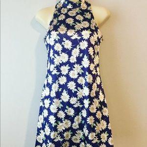 1990s high neck daisy dress