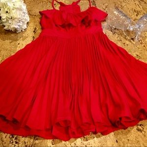 Vintage 90s HOT RED PARTY DRESS - Swing Style M