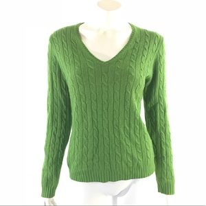 J Crew Sweater Large Green Cable Angora Cashmere