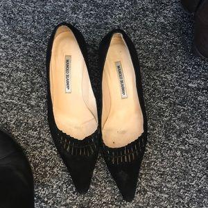 Manolo black suede heels