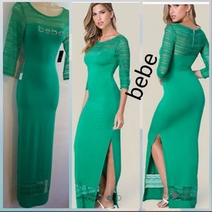 New With Tags bebe Logo Lace Trim Maxi Dress  Chic