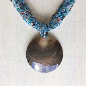 Jewelry - Mother Of Pearl Shell Blue Bead Statement Necklace