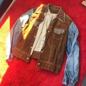 Vintage denim / suede studded jacket