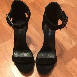 Calvin Klein black suede, open toe heels