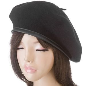 Breath of Youth Accessories - Black wool beret with faux leather trim around 63bd8ae9bf8