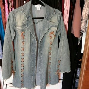 Newport News Denim Jacket leather detail & fringe
