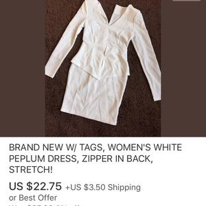 NEW W/ TAGS, WOMEN'S WHITE PEPLUM DRESS, ZIPPER