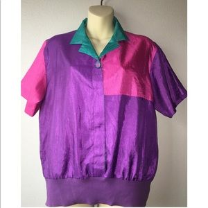 1980s colorblock polo with banded bottom