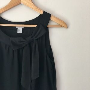 H&M Black Bow Embellished Silky Dress Size 6