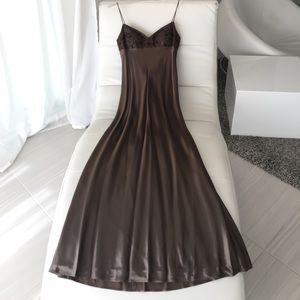 Laundry chocolate satin Gatsby gown