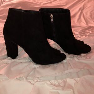 Black peep toe booties NWOT