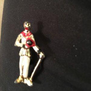 Jewelry - Derby rider or minstrel man figurative pin. Vtg