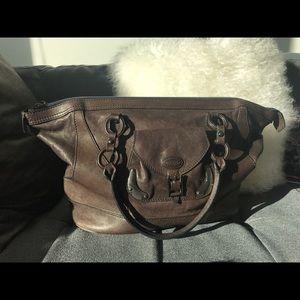 TOD'S Leather Gunmetal Detail RARE Satchel Bag