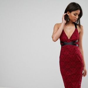 🦄 ASOS Lace Pencil with Ribbon Ties Midi Dress