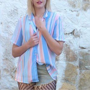 Tops - Vintage pastel Striped Blouse