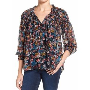 Ella Moss Wildflower Smocked Silk Top