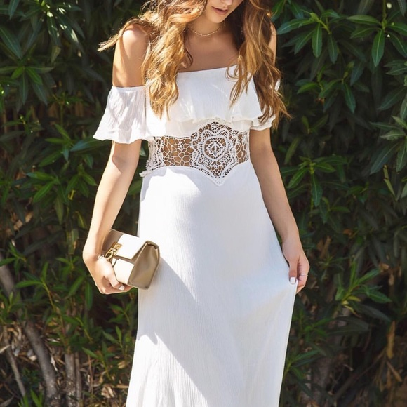 Toby Heart Ginger Dresses - White Off The Shoulder Crochet Maxi Dress