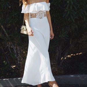 Toby Heart Ginger Dresses - White Off The Shoulder Crochet Maxi Dress