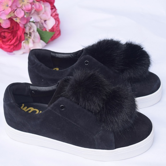 353e7018b2c195 Sam Edelman Leya Black Faux Fur Pom Sneakers
