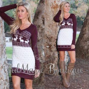 Reindeer Fair Isle Sweater Dress