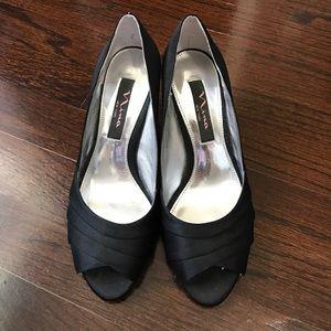 Nina Black Peep Toe Heels - WORN ONCE