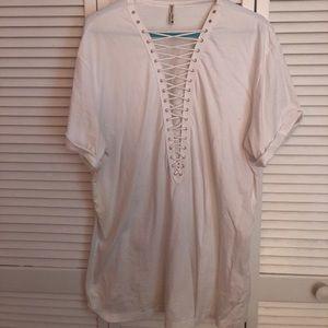 LF White lace up oversized T-shirt dress