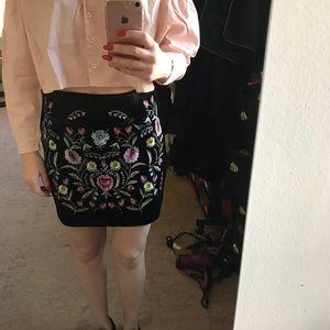 Nasty Gal velvet Embroidered Skirt