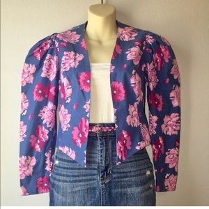 1980s puff sleeved floral blazer