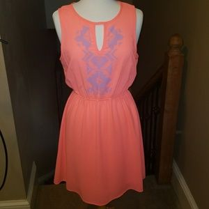 Everly neon coral dress