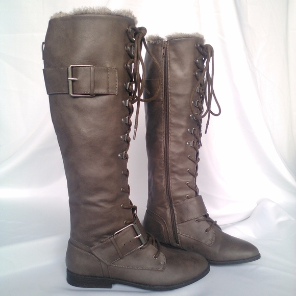 Brown Leather   Fur Boots b42d31107