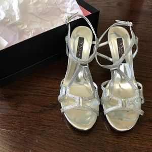 Nina Silver Strappy Heels - WORN ONCE