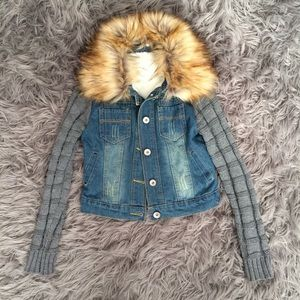 Jackets & Blazers - Sherpa Lined, Fur Collar, Knit Sleeve Denim Jacket