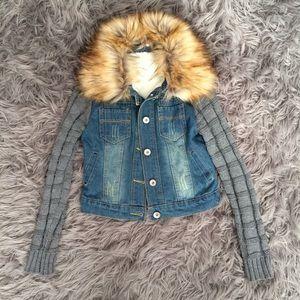 Jackets & Blazers - Sherpa Lined, Fur Collar, Knit Sleeve Denim Jacket