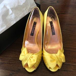 Nina Canary Yellow Forbes Peep Toe Heels