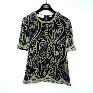 Vintage Lawrence Kazar Black Gold Beaded Silk Top