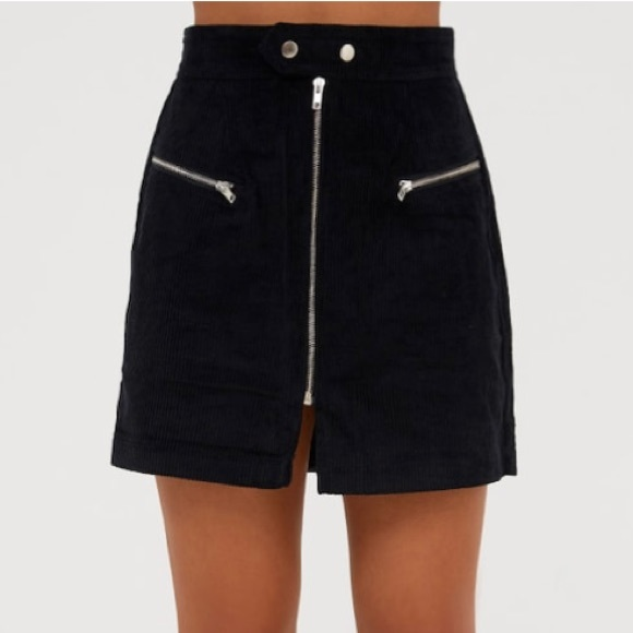 Pretty Little Thing Skirts - Black Cord Zip Up Mini Skirt