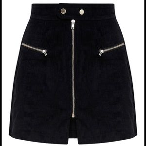 Pretty Little Thing Skirts - Black Cord Zip Up Mini Skirt