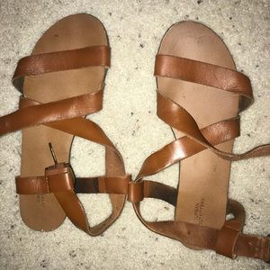 Tan leather strapped sandals