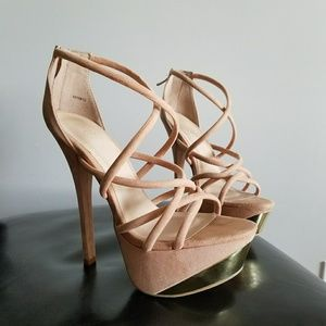 Nude Strappy Heels w Gold Accent | 8