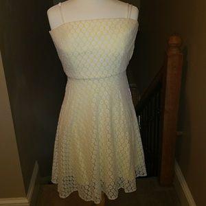 Betsey Johnson white yellow dress engage