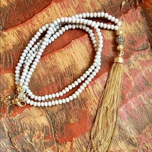Jewelry - Long faceted bead chain tassel necklace